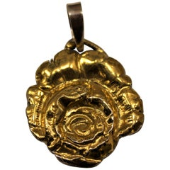 24 Karat Gold, Solid Silver, Pendant, Rose, Handcrafted, Italy