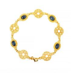 24K Handcrafted Oval Cabochon Sapphire Byzantine Style Rosette Bracelet