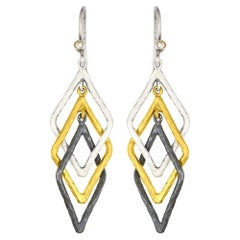 24K Sterling and Oxidized Silver Triple Kite Hoop Earring Drops with Diamonds