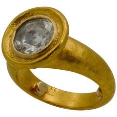 24 Karat Yellow Gold 1.50 Carat Rose Cut Diamond Bezel Set Solitaire Ring