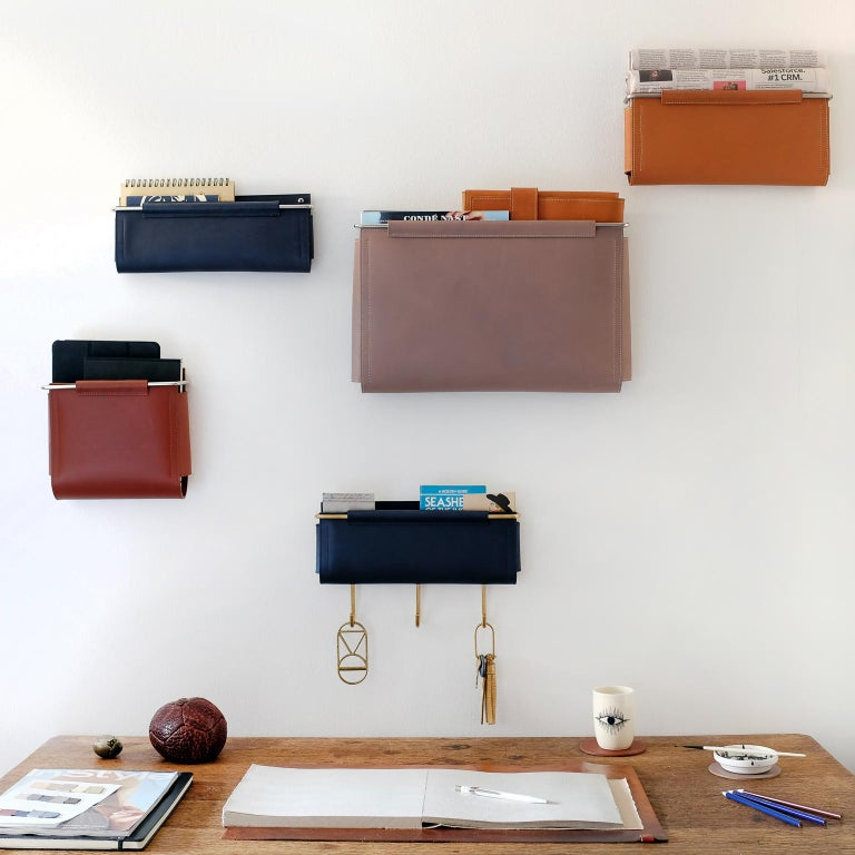 Leather Wall Pocket with 6 Hooks by Moses Nadel Navy/Brass In New Condition For Sale In Sea Cliff, NY