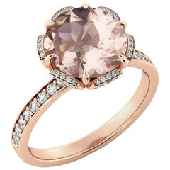 2.5 Carat 14 Karat Rose Gold Morganite and Diamonds Round Engagement Ring