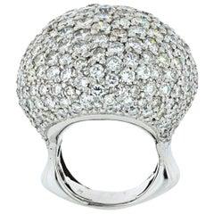 25 Carat 18 Karat White Gold Round Cut Diamond Dome Cluster Cocktail Ring