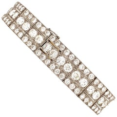 25 Carat 3-Row Antique French Deco Diamond Bracelet