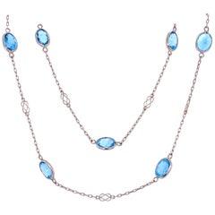 25 Carat Aquamarine Gemstone Platinum Link Necklace Fine Estate Jewelry