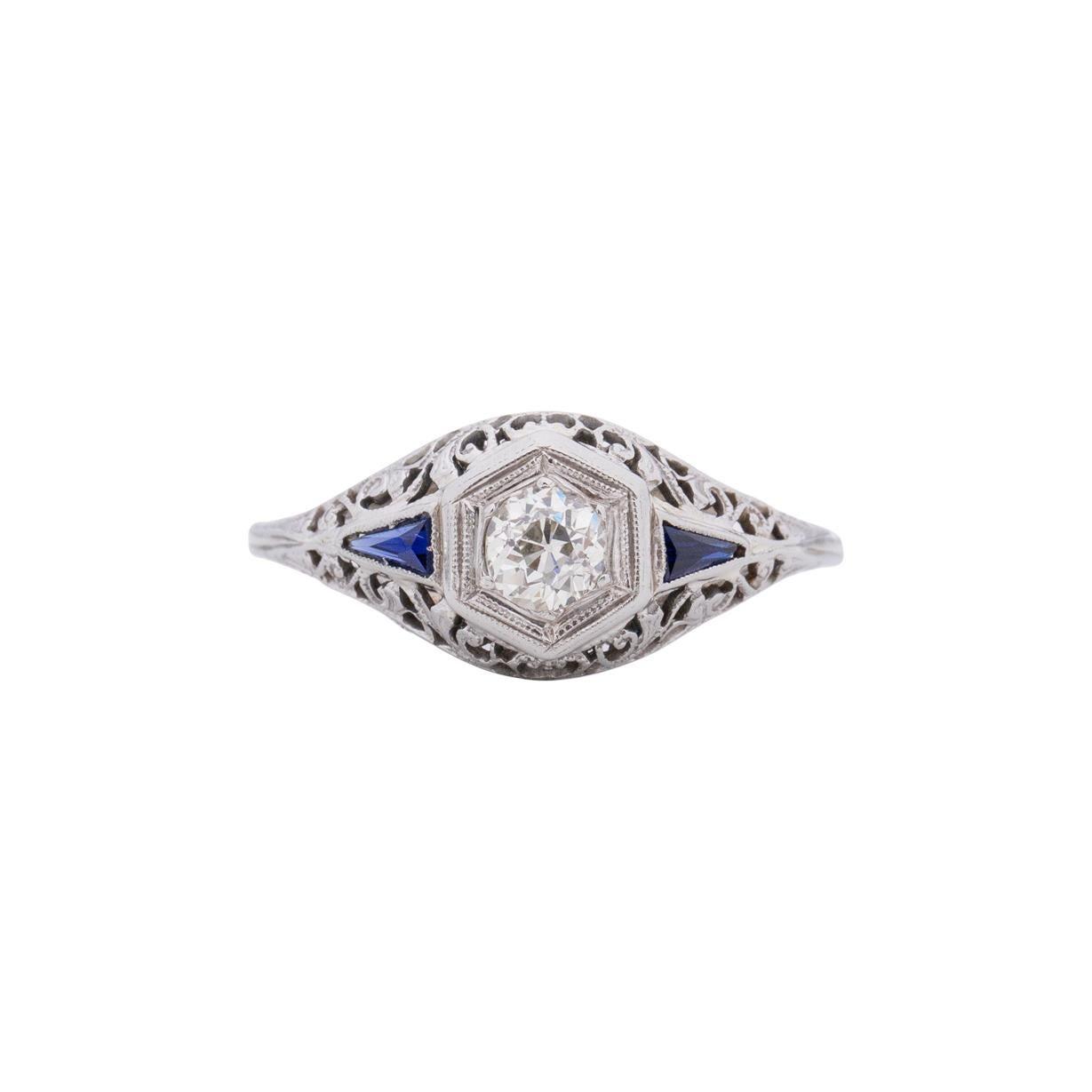 .25 Carat Art Deco 18 Karat White Gold Diamond Engagement Ring