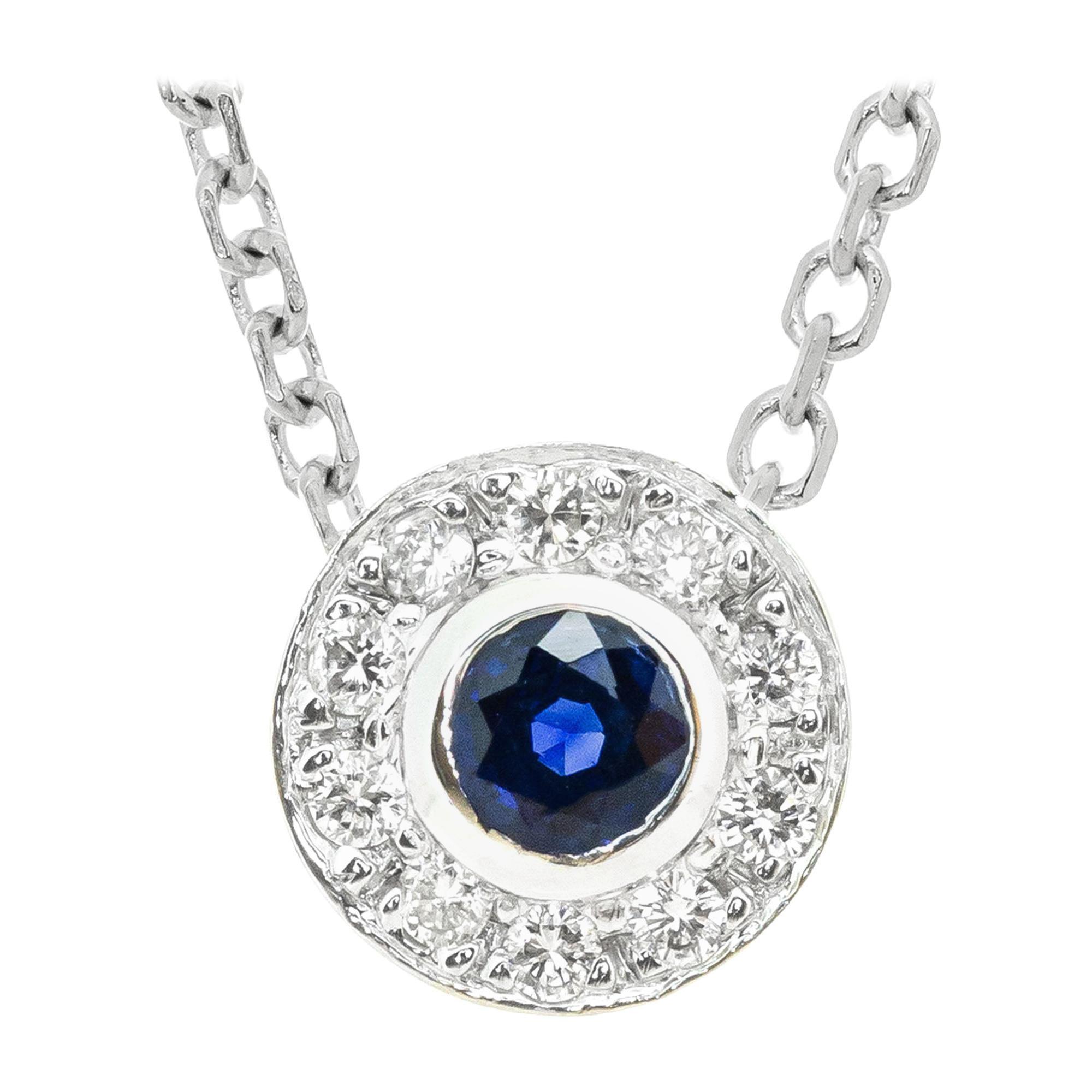 .25 Carat Blue Sapphire Diamond White Gold Halo Pendant Necklace