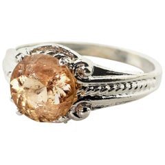 Glittering 2.5 Carat Brazilian Imperial Topaz Sterling Silver Cocktail Ring