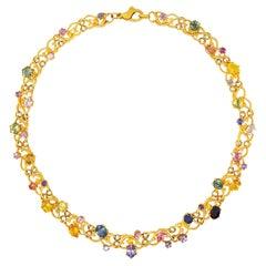 25 Carat Ceylon Sapphire Collection 18 Karat One of a Kind Garland Vine Necklace