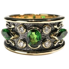 18 kt Yellow Gold 2.5 Ct Chrome Diopside Tourmaline Diamond Band Ring US Size 7