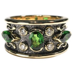 18kt Yellow Gold 2.5 Ct Chrome Diopside Tourmaline Diamond Band Ring US Size 8