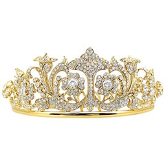 25 Carat Diamond and Gold Retro Tiara with 4-5 Carat Total Weight Centers