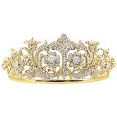 25 Carat Diamond and Gold Retro Tiara with 5 Carat Total Weight Diamonds Center