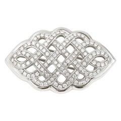 2.5 Carat Diamond Celtic Love Knot Brooch Fur Clip 18 Karat White Gold