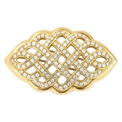 2.5 Carat Diamond Celtic Love Knot Brooch Fur Clip 18 Karat Yellow Gold