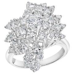 2.5 Carat Diamond Cluster Cocktail Ring 18 Karat White Gold 12.8 Grams Ring
