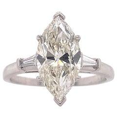 2.5 Carat Diamond Engagement Ring, Three Stone Ring, Platinum