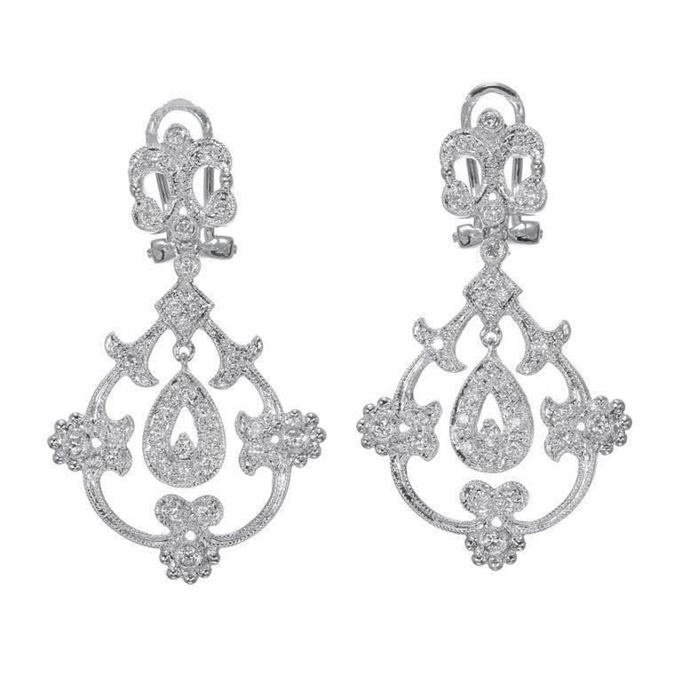 Round Cut .25 Carat Diamond Open Work Dangle Earrings For Sale