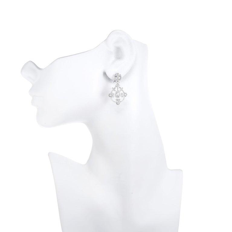 Women's .25 Carat Diamond Open Work Dangle Earrings For Sale