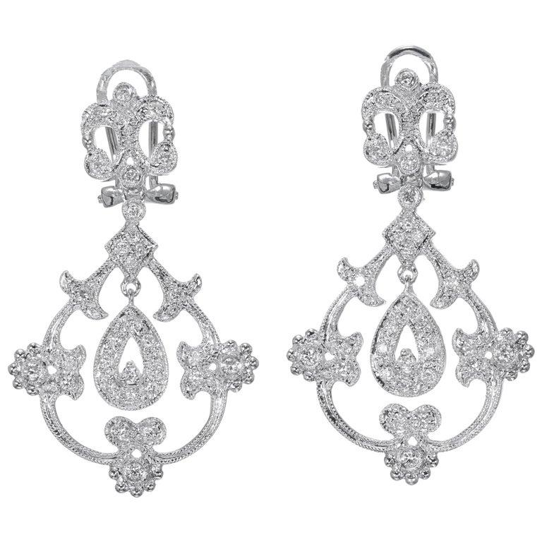 .25 Carat Diamond Open Work Dangle Earrings For Sale