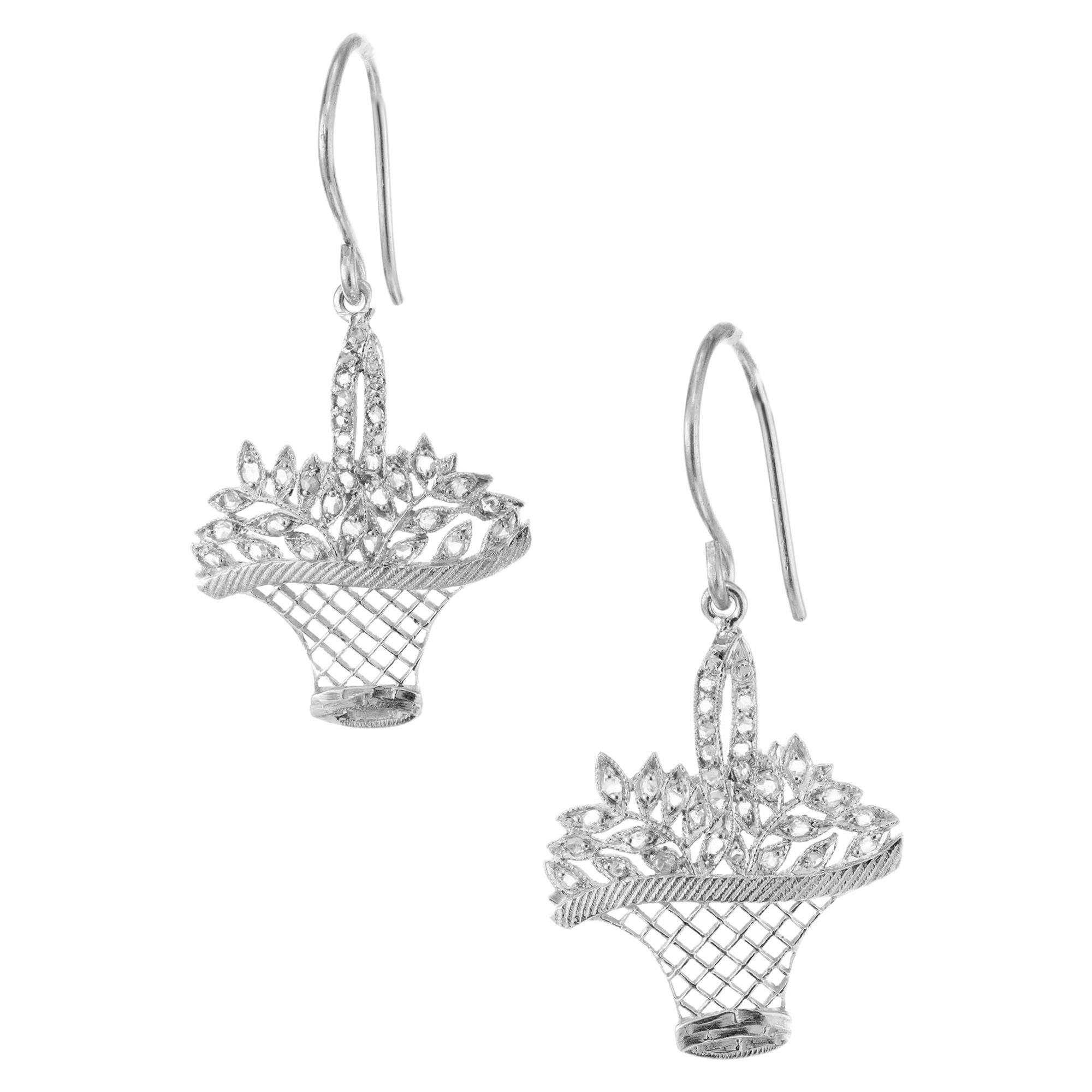 .25 Carat Diamond Platinum Basket Dangle Earrings