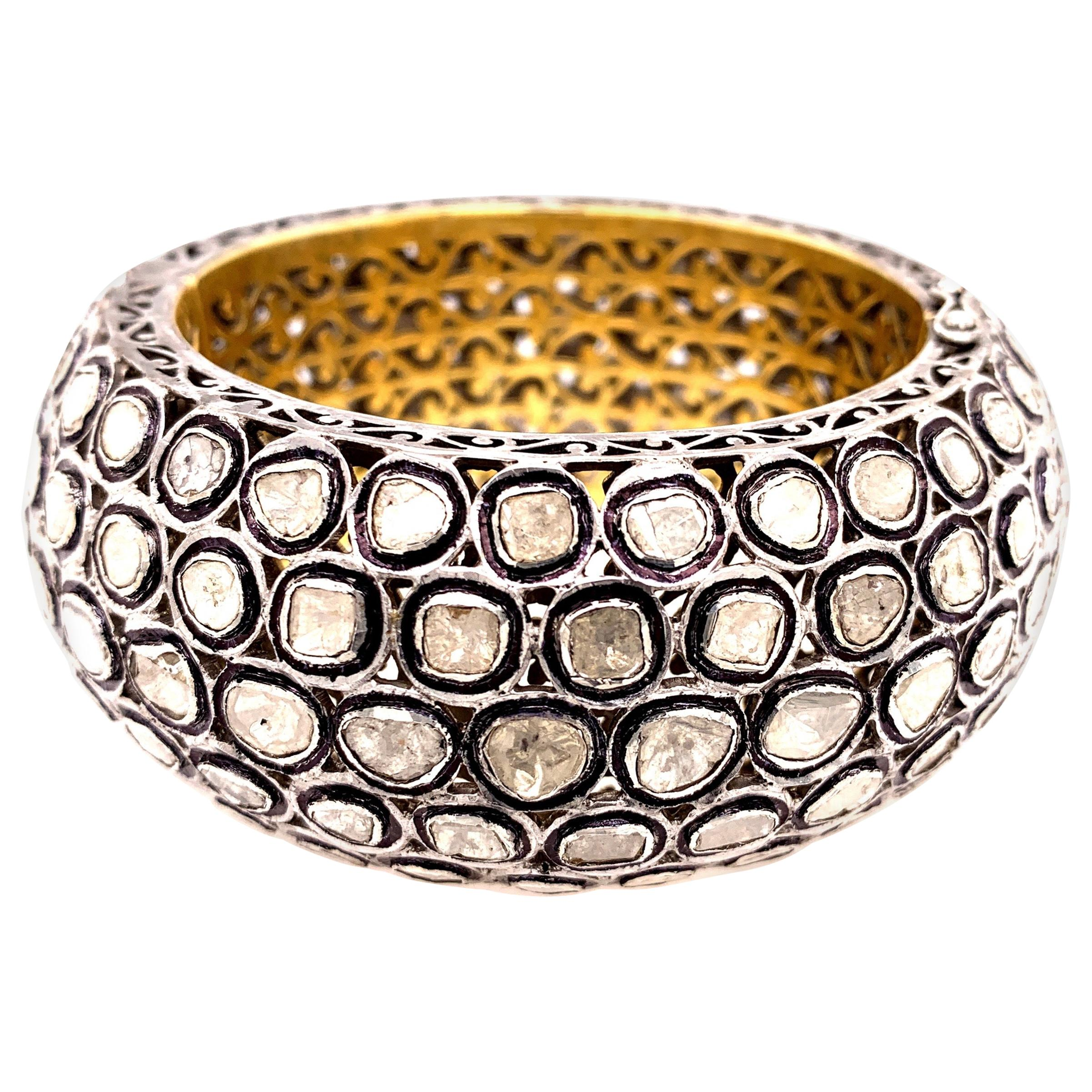 Maharaja 25 Carat Diamond Silver Gold Bangle Bracelet