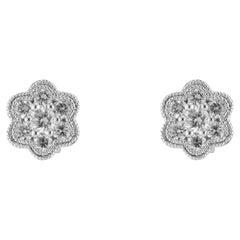 .25 Carat Diamond White Gold Flower Cluster Earrings