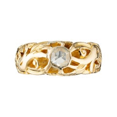 .25 Carat Diamond Yellow Gold Art Nouveau Engagement Ring