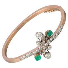 2.5 Carat Diamonds and Emeralds French Antique Bracelet
