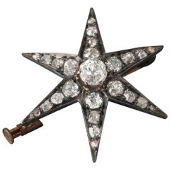 2.5 Carat Diamonds Antique Gold and Star Brooch