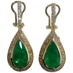 2.5 Carat Emerald and Diamond Gold Drop Earrings