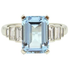 2.5 Carat Emerald Cut Aquamarine Diamond Platinum Ring