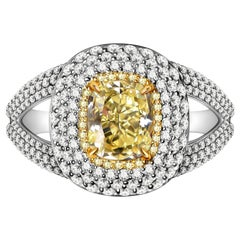 2.5 Carat Fancy Yellow Diamond and White Diamond 18 Karat White Gold Ring