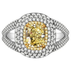 2.5 Carat Fancy Yellow Diamond and White Diamond 18 Karat White Gold Ring