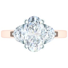 2.5 Carat GIA Certified Oval Diamond H-SI2 Three-Stone Engagement Ring