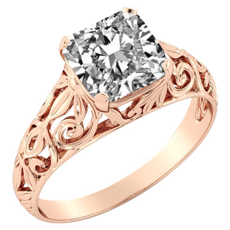 2.5 Carat GIA Cushion Engagement Ring, Vintage Diamond 18 Karat Rose Gold Ring For Sale