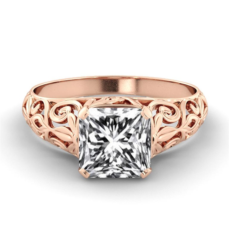 This stunning vintage design ring features a solitaire GIA certified diamond. Center stone is 100% eye clean, natural 2.5 carat, cushion shaped diamond of F-G color and VS2-SI1 clarity. Set in a sleek, 18K rose gold, solitaire ring with a 4-prong