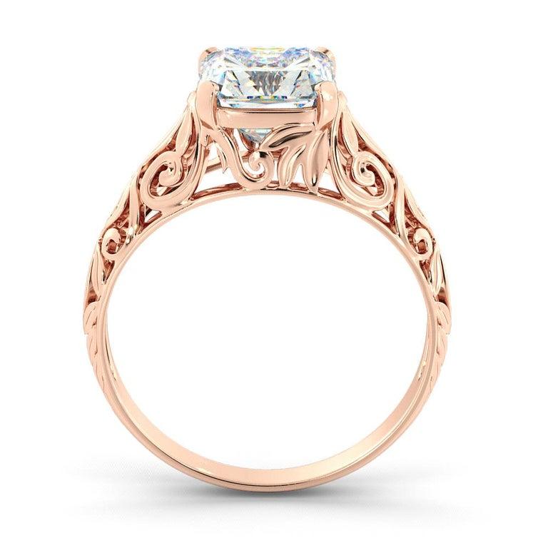 Art Deco 2.5 Carat GIA Cushion Engagement Ring, Vintage Diamond 18 Karat Rose Gold Ring For Sale