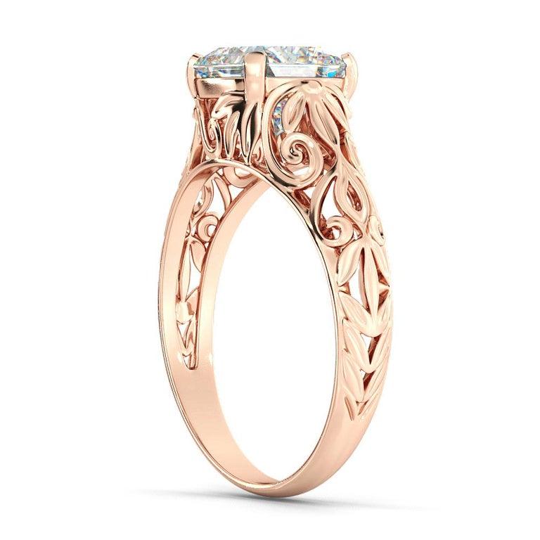 Cushion Cut 2.5 Carat GIA Cushion Engagement Ring, Vintage Diamond 18 Karat Rose Gold Ring For Sale