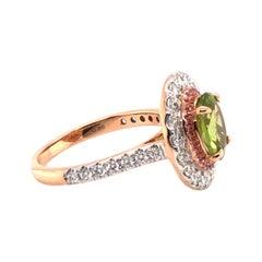 2.5 Carat Green Peridot Pink Sapphire Diamond Engagement Cocktail 18KT Ring