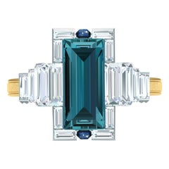 2.5 Carat Indicolite Diamond and Lapis Yellow and White Gold Ring