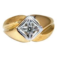 .25 Carat Men's Domed Masculine Graver and Shine Diamond Ring 14 Karat