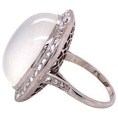 25 Carat Moonstone Diamond Platinum Cocktail Ring Fine Estate Jewelry