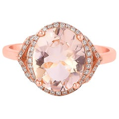 2.5 Carat Morganite and Diamond Ring in 18 Karat Rose Gold