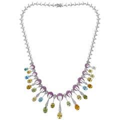 25 Carat Multi-Color Aquamarine and Diamonds Necklace 18 Karat White Gold