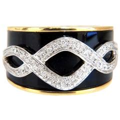 .25 Carat Natural Diamonds Enamel Inlay Floral Vector Ring 18 Karat