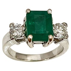 2.5 Carat Natural Emerald Cut Emerald & 0.50 Ct Diamond Ring 14 Karat White Gold