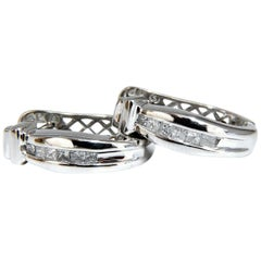 .25 Carat Natural Princess Diamonds Hoop Earrings Button 14 Karat