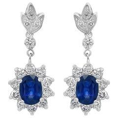 2.5 Carat Natural Sapphire & 2.0 Carat Diamond Hanging/Drop Earring 14Karat Gold
