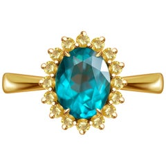 2,5 Carat Neon Blue Apatite Yellow Sapphire 14 Karat Yellow Gold Cocktail Ring